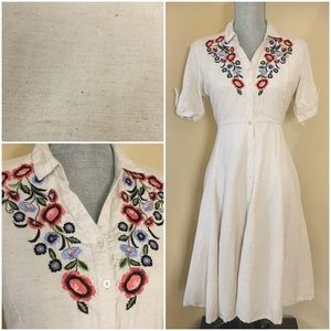 Button Down Dress with Floral Embroidery